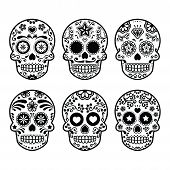stock photo of moustache  - Vector icon set of decorated skull  - JPG