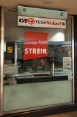 Sign At A Ticket Shop About The Strike In Cologne, Germany