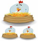 Farm Chicken Nest With Wood Banner