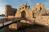 image of crusader  - The main gate of the Crusader Castle in Sidon - JPG