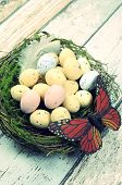 Retro Vintage Happy Easter Spring Speckled Eggs With Butterfly And Feather In Nest Against A Blue Sh