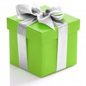 Green gift box with silver ribbon on white background.