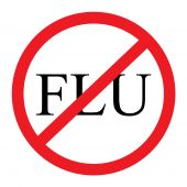 foto of flu shot  - A red and black 2D graphic crossing out the flu - JPG