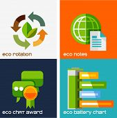 Set of flat design concepts - eco icons. Leaf rotation, global notebook, eco chat clouds with award