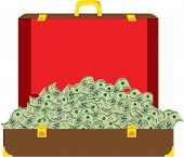 Suitcase filled with money