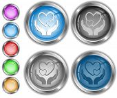 love in hands. Raster internet buttons.