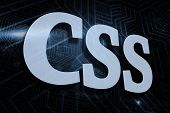 The word css against futuristic black and blue background