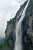 Norway landscape with big waterfall