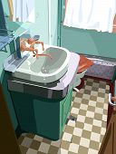 stock photo of mixing faucet  - illustration of a typical bathroom in a retro train - JPG