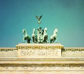 Vintage Brandenburg Gate (Brandenburger Tor), famous landmark in Berlin, Germany,rebuilt in the late
