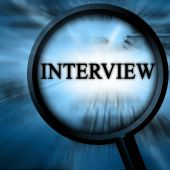 stock photo of interview  - interview on a blue background with a magnifier - JPG