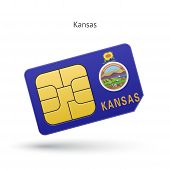 State of Kansas phone sim card with flag.