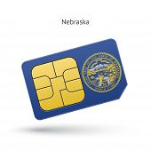 stock photo of nebraska  - State of Nebraska phone sim card with flag - JPG