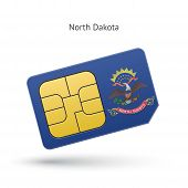 State of North Dakota phone sim card with flag.