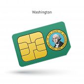 State of Washington phone sim card with flag.