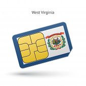State of West Virginia phone sim card with flag.