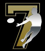Silver And Golden Sevens Rugby Emblem On Black