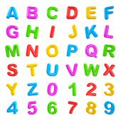 English multi color alphabet and number.
