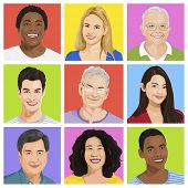 Vector of Multi-ethnic People Portraits