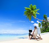 stock photo of palm-reading  - Businessman Working on laptop at Tropical Beach - JPG