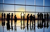 Silhouette of Business People Talking in Office