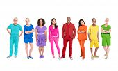Diversity of life: Group of Multi-ethnic Colorful World People