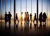 Silhouette of Group of Busy Business People