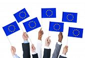 Business People Holding Flags of European Union