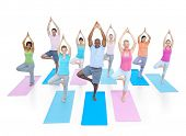 Group of Diverse Healthy People Doing Yoga