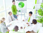 Green Business Meeting with Presentation in Contemporary Office