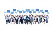 Mullti-ethnic Group of Diverse Business People Celebrating with Speech Bubbles
