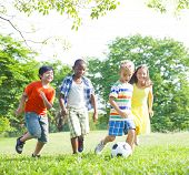 pic of bonding  - Diverse Children Playing Ball in The Park - JPG