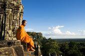 Contemplating Monk, Angkor Wat, Siam Reap, Cambodia