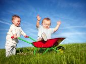 image of baby twins  - Twin Babies Playing Together with Wheel Barrel - JPG