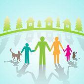 Vector multi-color community pictograms  in village