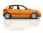 3D Orange Hatchback Car