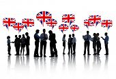 Silhouette of Business People Discussing United Kingdom