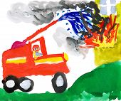 fire truck puts out fire. child drawing watercolor.