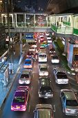 Main Road In Bangkok In Nightly Traffic Jam With Cars