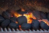 Charcoal Briquettes With Fire Sparks.barbecue Design.