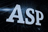 The word asp against futuristic black and blue background