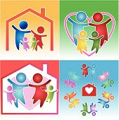 colorful family and heart together teamwork icon