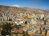 Modern Centre Of La Paz And Illimani Mountain