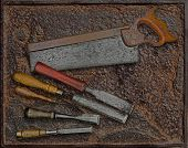 Vintage Woodworking Tools Over Plate