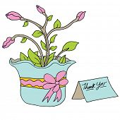 An image of a flowered plant with thank you card.