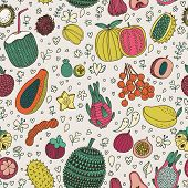 Dragon fruit, durian, longan, mangosteen, carambola, mango,  Tasty seamless pattern made of fruits i