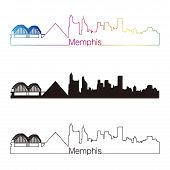 Memphis Skyline Linear Style With Rainbow