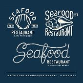 Vintage seafood restaurant layout with handwritten alphabet