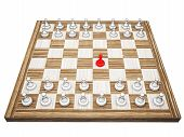 Red Pawn On A Chess Board