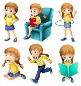 image of sob  - Illustration of the different activities of a young girl on a white background - JPG